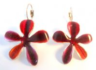 Red Enamel Flower Drop Earrings By French Designer Ikita.